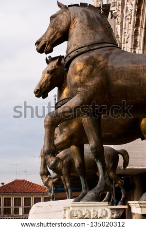 Horse Statue, Venice, bronze sculpture of a horse. Copy of the ancient greek Lysippus sculpture taken from Constantinople by the Venetians. metallic model. - stock photo
