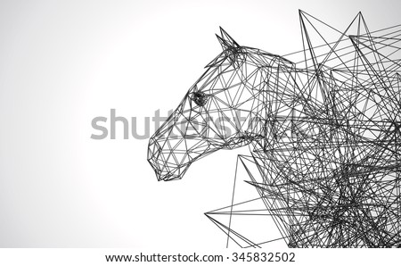 horse stylized low poly wire construction concept concepts connection - stock photo