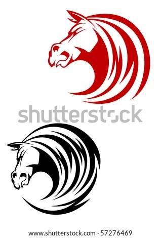 Horse tattoo symbol - also as emblem or logo template. Vector version also available - stock photo