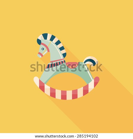 horse toy flat icon with long shadow - stock photo