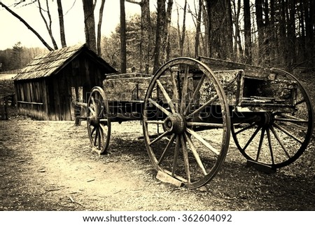 Horse wagon and shack in sepia