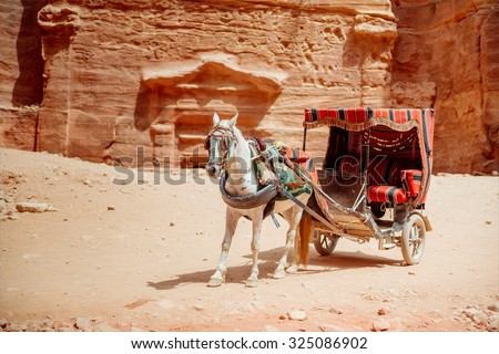 Horse with cart at the ancient site of Petra. The main tourist destination in Jordan - stock photo
