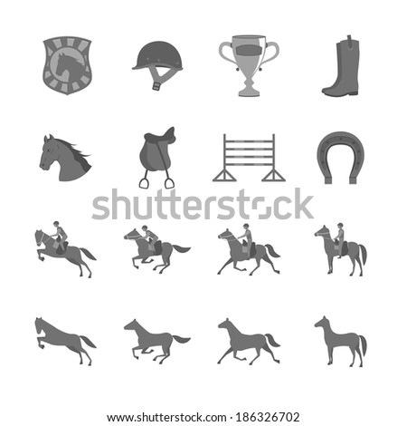 Horse with riders flat icons set of cup barrier saddle and horseshoe isolated  illustration - stock photo