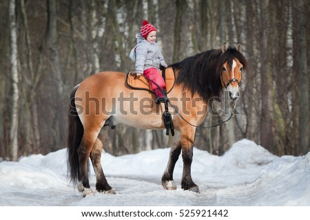 Horseback - child riding a horse. Horse and small girl in winter outside.