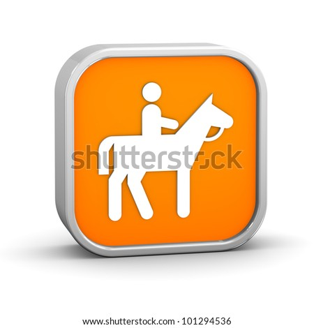 Horseback trail sign on a white background. Part of a series. - stock photo