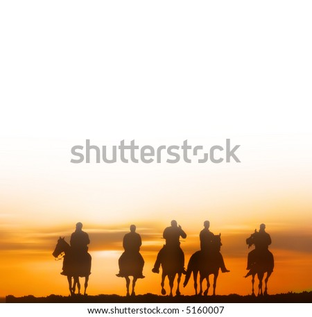 horseriders - vector version available - stock photo