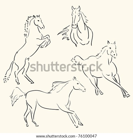 horses line art - stock photo