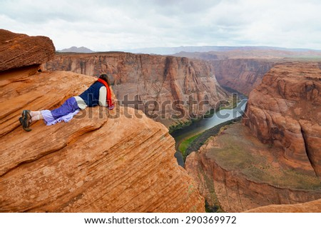 Horseshoe Bend in Page, Arizona USA - stock photo