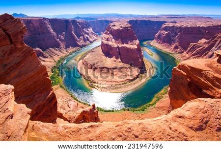 Horseshoe Bend on the Colorado River near Page, Arizona, USA - stock photo