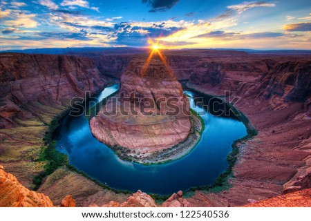Horseshoe Bend, sunset in the Colorado Canyon - stock photo