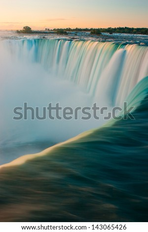 Horseshoe Falls closeup in the morning with mist - Niagara Falls in Canada - stock photo