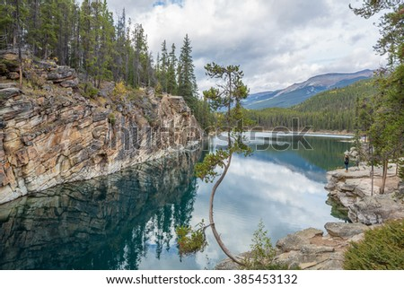 Horseshoe Lake, Jasper National Park, Alberta, Canada - stock photo