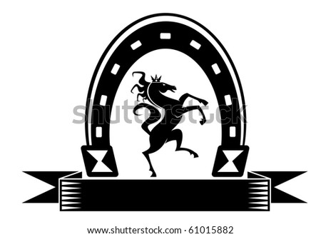 Horseshoe lucky symbol with horse isolated on white or logo template. Vector version also available in gallery - stock photo