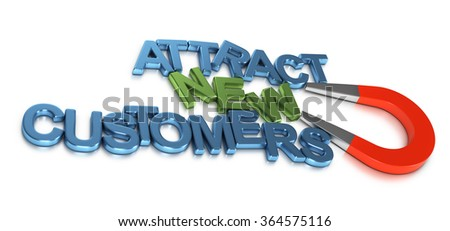 Horseshoe magnet attracting metal letters forming the text attract new customers. 3D rendering image for illustration of business development or commercial prospection. - stock photo