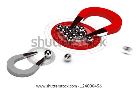 horseshoe magnet with many balls on a red target, plus one small grey dart, 3d render image over white background. Gain market share concept - stock photo