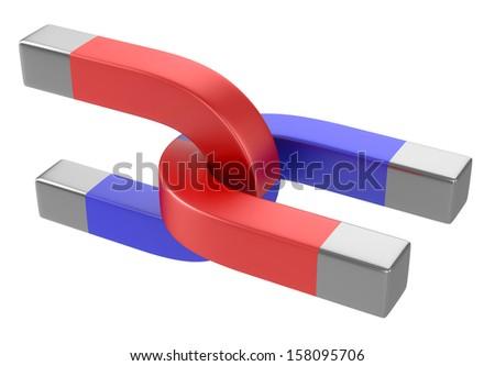 Horseshoe magnets isolated on white background  - stock photo