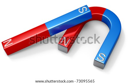 Horseshoe magnets with red northern and blue southern poles on white - stock photo