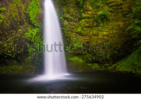 Horsetail Falls, in the Columbia River Gorge, Oregon. - stock photo