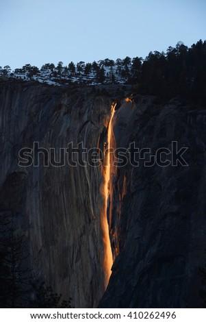 horsetail firefalls at yosemite national park - stock photo