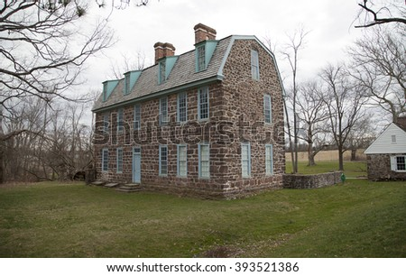 Horsham, Montgomery County, Pa. USA, March 20, 2016: Graeme Park state with colonial house built by William Keith. March 20, 2016 in Horsham, Pa. USA
