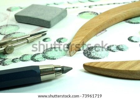 Horticultural sketch with pencil, compass and eraser - stock photo