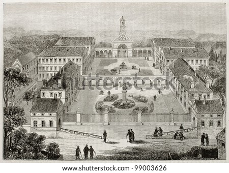 Hospice de la Reconnaissance old view (Gratitude Asylum), founded by Michel Grezin, Garches, France. Created by Meunier and Sellier, published on Magasin Pittoresque, Paris, 1882 - stock photo