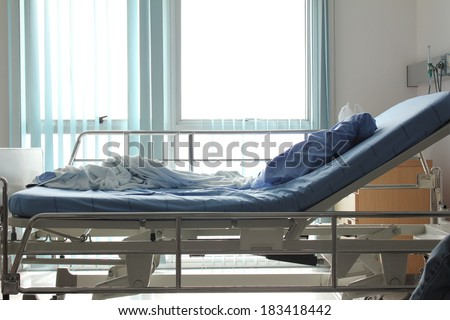 hospital bed after patient get well - stock photo