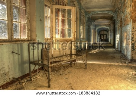 Hospital bed in an abandoned hospital in Beelitz - stock photo