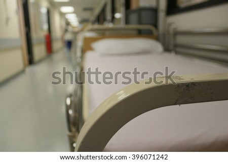 Hospital beds empty background blur. blur background of operation room. Hospital hallway, emergency room. Empty bed in busy hospital corridor nurse party patient sick bed hospital heaven rooms surgery - stock photo