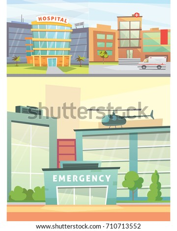 Hospital building cartoon modern illustration medical stock hospital building cartoon modern illustration medical clinic and city background emergency room exterior malvernweather Images