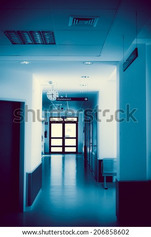 hospital corridor. hospital hallway. hospital interior - stock photo