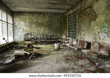 hospital in Pripyat city abandoned after the Chernobyl nuclear power plant disaster