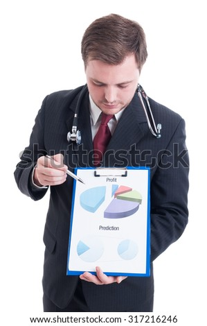 Hospital manager showing profit and prediction chart on clipboard