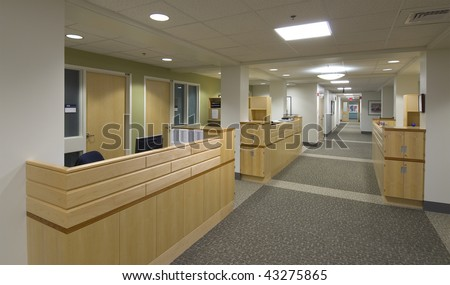 Hospital reception desks in new modern hospital