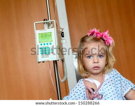 Hospitalized Girl - stock photo