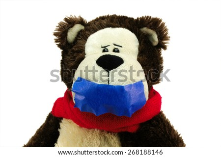 Hostage teddy bear on white background censorship - stock photo