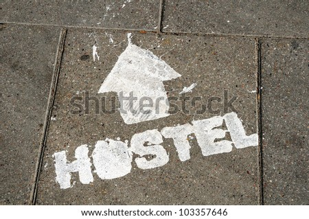 hostel sign - stock photo