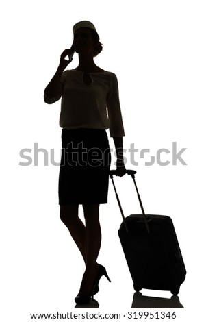 hostess business class travel silhouette studio shot on white