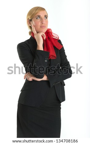 Hostess with a thoughtful expression - stock photo