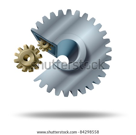 Hostile takeover and acquisitions by corporate mergers by shareholder agreement by a big company for strategic financial planning and growth represented by a big cog eating a small gear. - stock photo