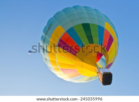 hot air balloon and clear sky - stock photo