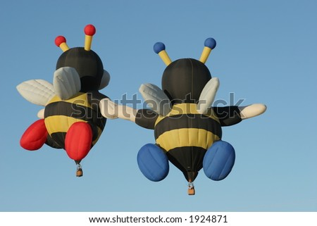 Hot air balloon bees - stock photo
