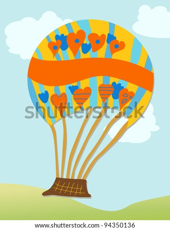 Hot Air Balloon - Cartoon hot air balloon in brilliant colors with space for text - stock photo