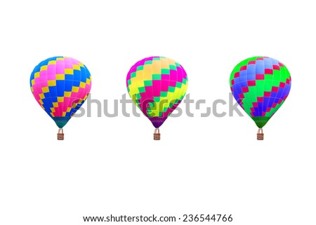 hot air balloon collections with basket isolate on white background with clipping path