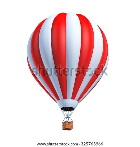 hot air balloon 3d illustration - stock photo