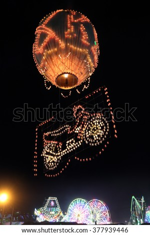 """Hot-air balloon festival in Taunggyi, Myanmar (Burma). The ballons are released to celebrate the annual Buddhist """"Festival of Lights"""", the last day always takes place on the full moon day in November - stock photo"""