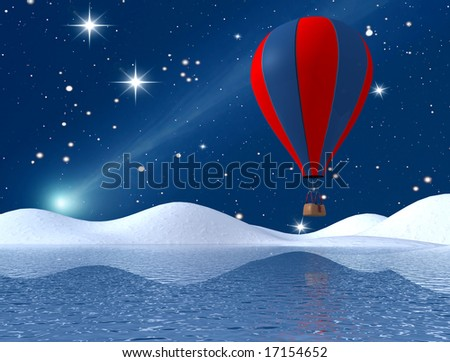 hot air balloon flying over mountain lake