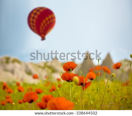 Hot air balloon flying over red poppies field Cappadocia region, Turkey - stock photo