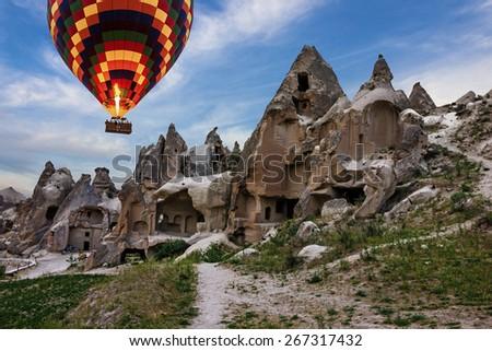 Hot air balloon, Goreme open air museum, Cappadocia, Turkey. - stock photo