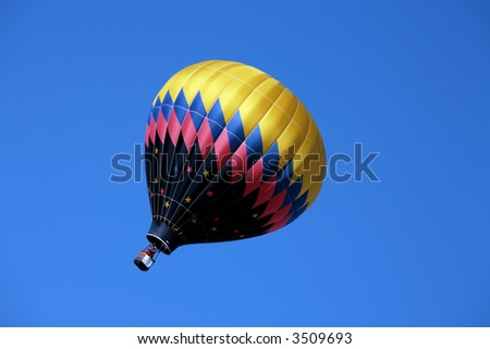 Hot air balloon in a gust of wind - stock photo